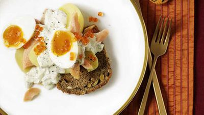 <strong>Smoked fish and egg salad on rye toasts</strong>