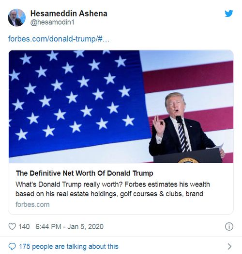 The tweet posted by Hesameddin Ashena, an advisor to the Iranian president, details the property empire and assets of US President Donald Trump.