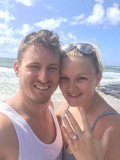 Keegan DeCourcy proposed to Sarah Jenkins, nine years after meeting.
