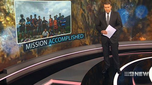 9NEWS presenter Peter Overton presenting the special bulletin once the boys and their coach were rescued. Picture: 9NEWS