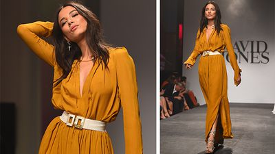 Model Jessica Gomes wearing a design by Kitx as part of the David Jones Spring/Summer 2015 collection. (AAP)