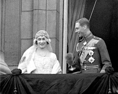 Lady Elizabeth Bowes-Lyon (later to be Queen Elizabeth, the Queen Mother) and Prince Albert, Duke of York (later to be King George VI) on the balcony of Buckingham Palace after their wedding ceremony.