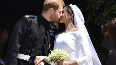 Royal wedding anniversary kiss