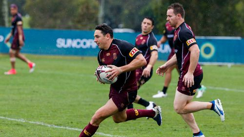 Billy Slater in action during the Queensland State of Origin team training session at Sanctuary Cove on the Gold Coast, Friday, July 7, 2017. (AAP)