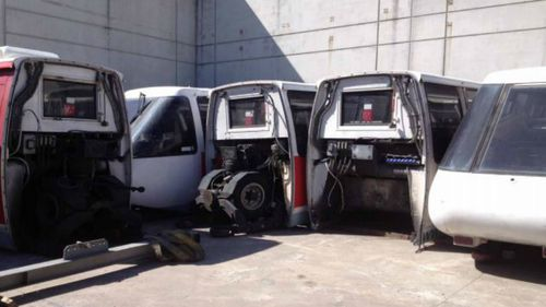 The carriages are sitting in a workshop in Sydney's inner-west. (Metro Reusables)