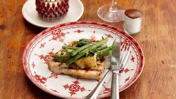 Chargrilled swordfish with zucchini-green bean salad and muhamara dressing