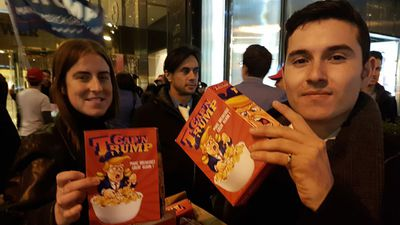 "<p>""Make Breakfast Great Again!"" </p> <p>The folks behind 'Cap'n Trump' wanted to turn the negative tone of the campaign around, and pledged two boxes of cereal to the homeless with every souvenir box sold.</p> <p>(9news.com.au / Ehsan Knopf)</p>"