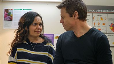 April (Miranda Tapsell) and Hugh (Rodger Corser) Doctor Doctor Season 5, Episode 6 2020