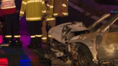 Two people, including the driver, fled the scene after the crash. (9NEWS)