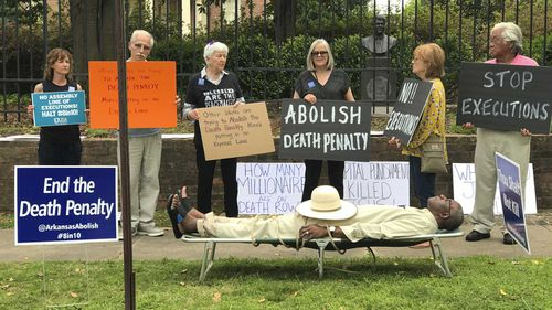 Pulaski County Circuit Judge Wendell Griffen taking part of an anti-death penalty demonstration outside the Governor's Mansion in Little Rock.