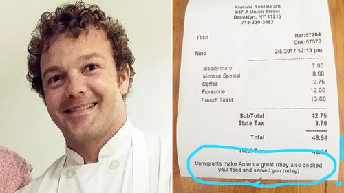 NZ chef pens positive reminder to patrons in wake of US travel ban