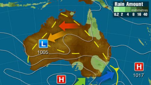 Friday: A low pressure trough over inland and northern QLD will bring showers and storms. A cool southerly change will move along the NSW coast in with a cold front. Showery conditions will remain over VIC and TAS in the wake of front. (Weatherzone)