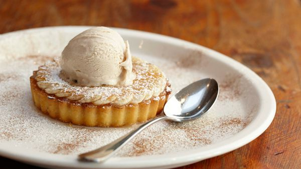 Caramelised banana tart with honey cinnamon ice-cream and butterscotch sauce