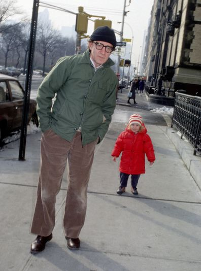 Woody Allen and his daughter, Mia Farrow, in New York in 1988