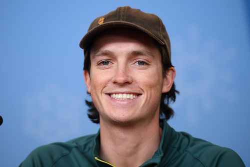 Australian halfpipe snowboarder Scotty James smiles during a press conference ahead of the start of the PyeongChang 2018 Winter Olympic Games. (AAP)
