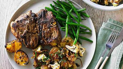 Moroccan lamb chops with roasted potatoes and cauliflower