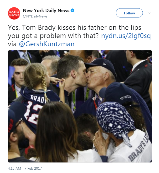Tom Brady's awkward dad kiss with his son made the Internet uncomfortable
