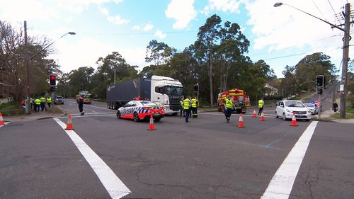 Police were called to the intersection of Sherbrook Road and Burdett Street in Hornsby following reports a pedestrian had been hit by a vehicle. Picture: 9NEWS.