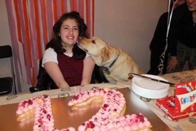 Francesca birthday with her dog