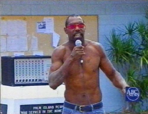 Lex Wotton speaking at a rally on the day of the Palm Island riots. (AAP)