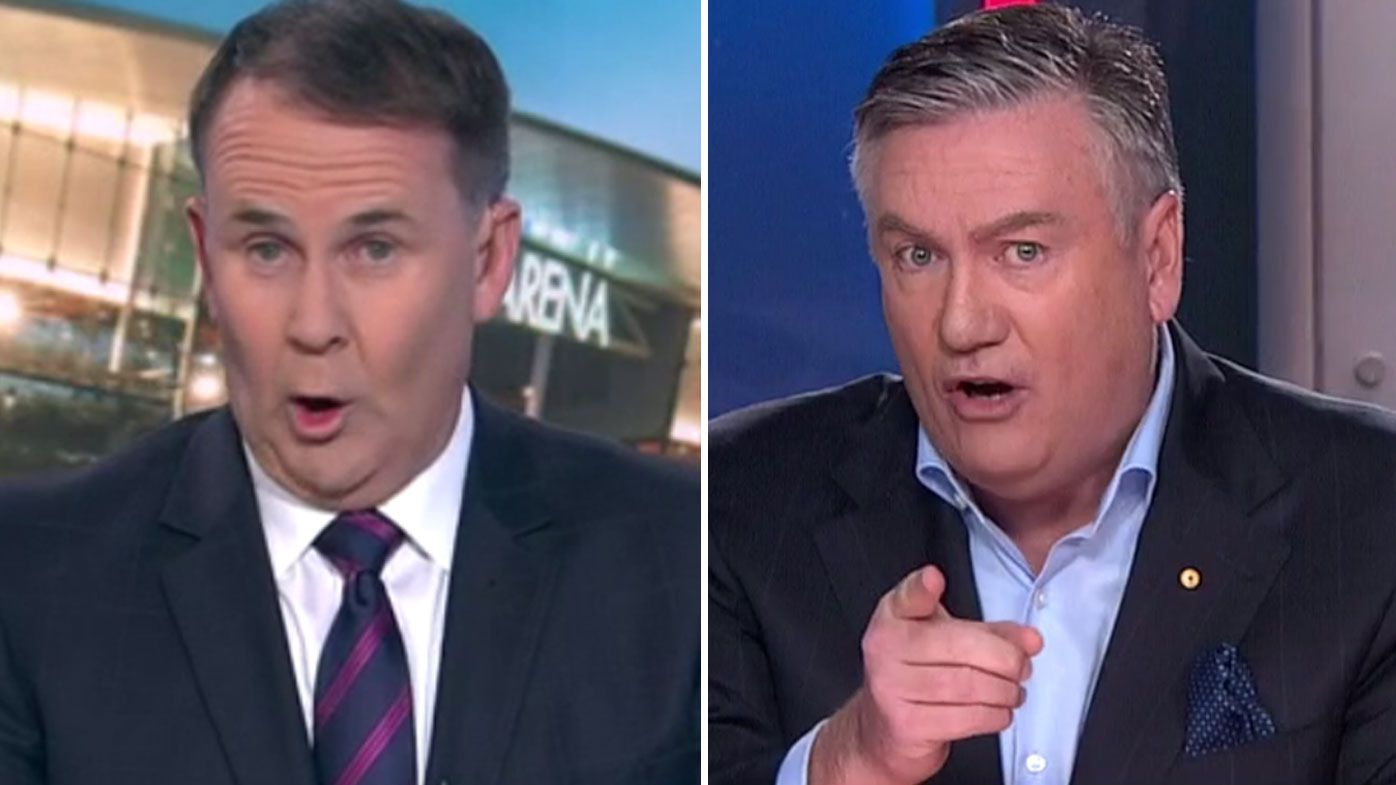 Collingwood president Eddie McGuire and Tony Jones in fiery exchange over AFL membership refunds