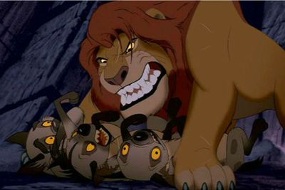 Snarl-faced Scar manipulated the Hyenas into killing Mufasa and trying to kill the young Simba, too, only to turn on his devoted army when a fully-grown Simba wants justice.