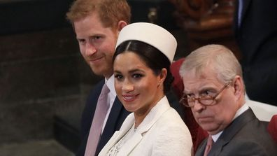 Prince Harry (left), Meghan, Duchess of Sussex (centre) and Prince Andrew, right, during the Commonwealth Service at Westminster Abbey in London, Monday, March 11, 2019.
