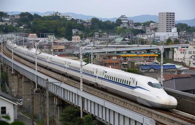 TOKYO, JAPAN - JUNE 28: A N700S Shinkansen bullet train test runs between Shinagawa and Shin-Yokohama stations on June 28, 2018 in Odawara, Kanagawa, Japan.
