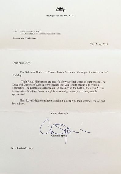 The Duke and Duchess of Sussex send letter after Archie's birth