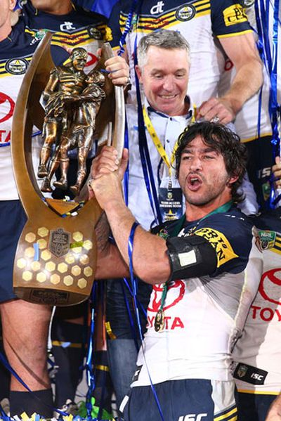 <b>North Queensland maestro Johnathan Thurston has capped off a year to remember by claiming a record third Golden Boot award as the world's best rugby league player.</b><br/><br/>The 32-year-old beat New Zealand fullback Roger Tuivasa-Sheck and England fullback Zak Hardaker to win the coveted award.<br/><br/>And in doing so the star halfback completed a perfect season where he led the Cowboys to their maiden NRL premiership, steered Queensland to a ninth State of Origin series win in 10 years and claimed a fourth Dally M medal.<br/><br/>Here are some of the highlights of Thurston's stellar season.