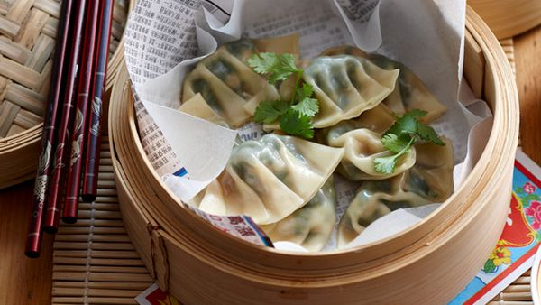 Steamed prawn and watercress dumplings