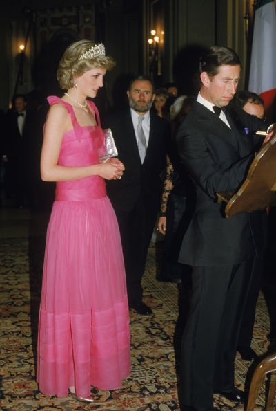 Wearing a gown by Victor Edelstein at the opera in Milan, 1985.