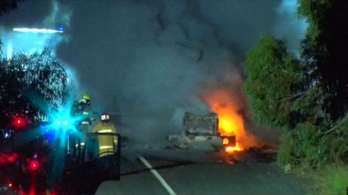 Several motorists put calls through to Triple Zero after passing the truck blaze.