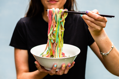 Rainbow noodles for Mardi Gras, by Din Tai Fung and Deliveroo