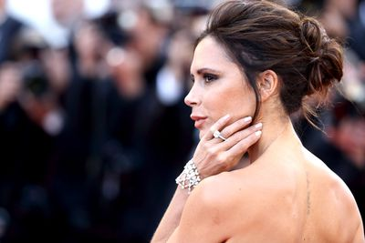 <p >In 2016, Posh received a simple square-cut diamond mounted on a platinum pave band. </p> <p>The rock made its first debut at the Cannes Film Festival in 2016.</p>