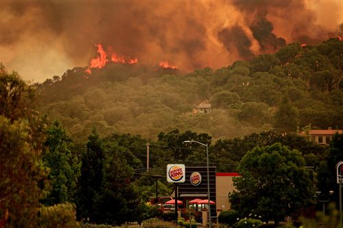 Flames from the River Fire portion of the Mendocino Complex Fire in Lakeport, California, USA, 29 July 2018 (issued 30 July 2018). The River and Ranch fires combined as the Mendocino Complex Fire with more than 56,000 acres (22,660 hectares) burned, nearly doubling since Sunday with more than 10,000 people already evacuated. EPA/ALAN SIMMONS
