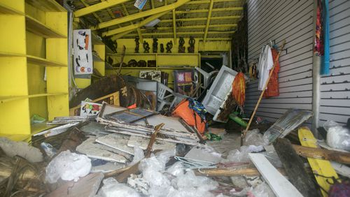 A gift shop lies damaged on Cofrecito Beach after the crossing of Hurricane Maria over Bavaro, Dominican Republic.