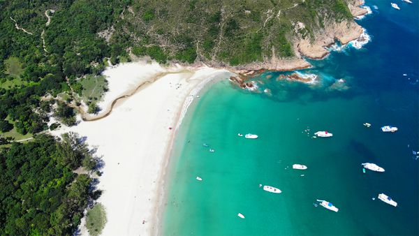 Bird's eye view of the beach at one of Hong Kong's UNESCO Global Geoparks.