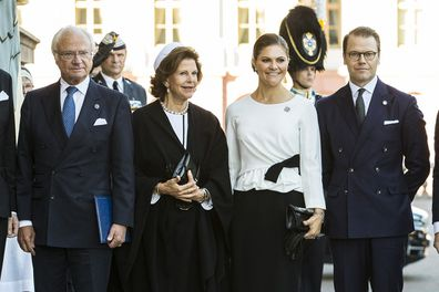 Queen Silvia with her family Carl XVI Gustaf Princess Victoria, and Prince Daniel of Sweden in 2018.
