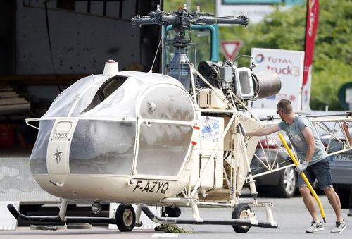 A burnt out helicopter used in Redoine Faid's escape.