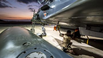 A French fighter jet is prepared to hit targets in Syria.