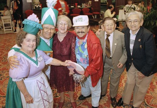 Fellow munchkins Margaret Pellegrini, Clarence Swensen, Ruth Duccini, Jerry Maren, Karl Slover and Mickey Carroll in 1997. Picture: AAP