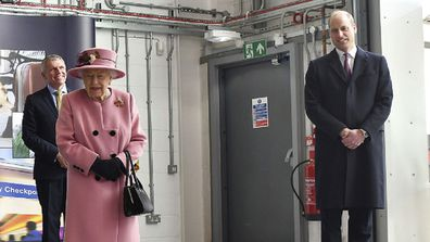 Queen Elizabeth and Prince William view a demonstration of a Forensic Explosives Investigation.