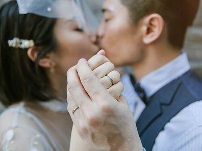 Bride and groom in Beijing, China.