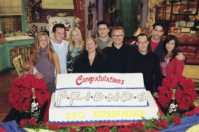 The Friends cast with executive producers Marta Kauffman, Kevin S. Bright and David Crane.