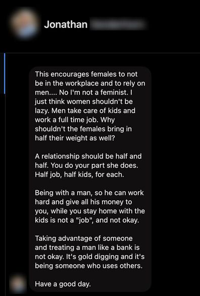 Man message about stay at home mums