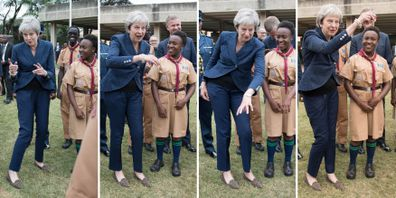 Theresa May also danced when she met scouts at the united Nations offices in Nairobi in August.