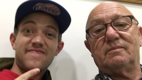 Liam Anderson (L) with his father Australian rocker Angry Anderson (R).