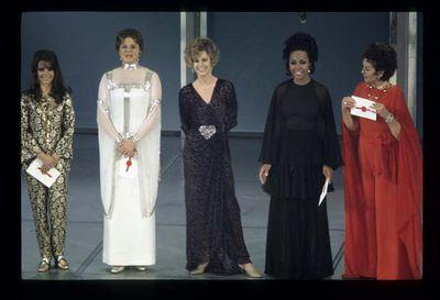 Natalie Wood, Ingrid Bergman, Jane Fonda, Diahann Carroll and Rosalind Russell at the 41st Annual Academy Awards.