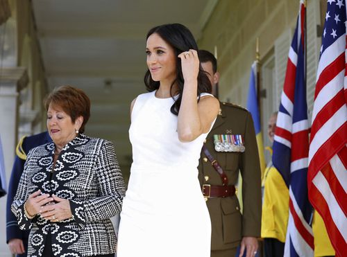 Meghan's first outfit of the day is from Aussie designer Karen Gee.